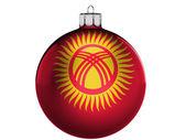 Flaga kirgistanu na boże narodzenie, x-mas zabawka — Zdjęcie stockowe