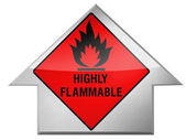 Highly flammable sign drawn on — Stock Photo