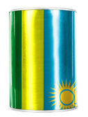 Ruanda flag painted on shiny tin can — Stock Photo