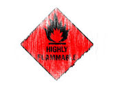 Highly flammable sign drawn on drawn on white background with colored crayons — Stok fotoğraf