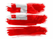 Tonga flag painted with three strokes of paint in white — Stock Photo