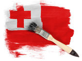 Tonga flag painted with brush over it — Stock Photo