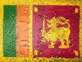 Sri Lanka flag covered with water drops — Stock Photo