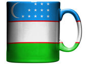 Uzbekistan flag painted on coffee mug or cup — Stock Photo