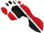 Trinidad and Tobago flag painted in a shape of footprint — Stock Photo