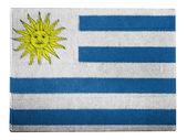 Uruguay flag painted on carton box — Stock Photo
