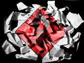 Son derece yanıcı işareti üzerine boyalı siyah arka plan üzerinde yırtık kağıt parçaları üzerinde çizilmiş — Stok fotoğraf