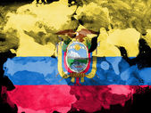 Ecuador flag painted with watercolor on black paper — Stock Photo
