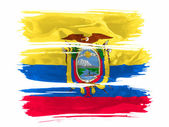 Ecuador flag painted with three strokes of paint in white — Stock Photo