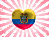 Ecuador flag painted on glass heart on stripped background — Stock Photo