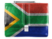 South African flag painted on small briefcaseor leather handbag — Stok fotoğraf