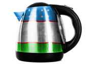 Uzbekistan flag painted on shiny metallic kettle — Stock Photo