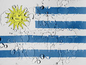 Uruguay flag covered with water drops — Stock Photo