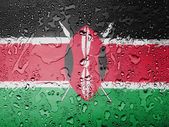 Kenya flag covered with water drops — Stock Photo