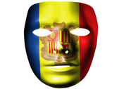 Andorra flag painted on theater plastic mask — Stock Photo