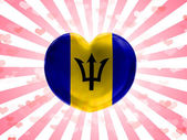 Barbados. Barbadian flag painted on glass heart on stripped background — Stock Photo