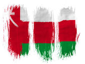 Oman flag painted with 3 vertical brush strokes on white background — Stock Photo
