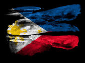 Philippine flag painted on black textured paper with watercolor — Stock Photo
