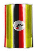 Uganda flag painted on shiny tin can — Stock Photo