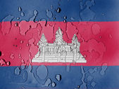 Cambodia flag covered with water drops — Photo