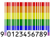Gay pride flag painted on barcode surface — Stock Photo