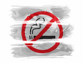 No smoking sign drawn at painted with three strokes of paint in white — Stock Photo