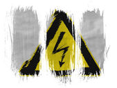 Electric shock sign painted on painted with 3 vertical brush strokes on white background — Stock Photo