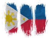 Philippine flag painted with 3 vertical brush strokes on white background — Stock Photo