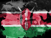Kenya flag painted with watercolor on black paper — Stock Photo