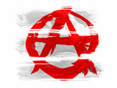 Anarchy symbol painted painted with three strokes of paint in white — Stock Photo