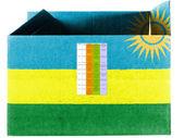 卢旺达国旗画在纸箱或包 — 图库照片