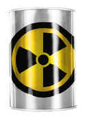Nuclear radiation symbol painted on shiny tin can — Stock Photo
