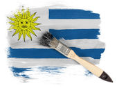 Uruguay flag painted with brush over it — Stock Photo