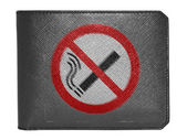 No smoking sign drawn painted on leather wallet painted on leather wallet — Stock Photo