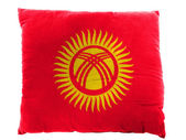 Kyrgyzstan flag painted on pillow — Stock Photo