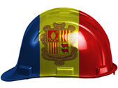 Andorra flag painted on safety helmet — Stock Photo