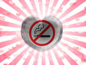 No smoking sign painted on glass heart on stripped background — Stock Photo