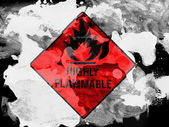 Highly flammable sign drawn on painted with watercolor on black paper — Stock Photo