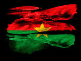 Burkina Faso flag painted on black textured paper with watercolor — Stock Photo