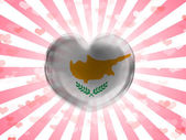 Cyprus flag painted on glass heart on stripped background — Stock Photo