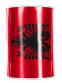 Albanie. drapeau albanais peint sur brillant tin can — Photo