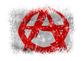 Anarchy symbol painted n on white background — Foto de Stock