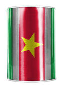 Surinamese flag painted on shiny tin can — Stock Photo