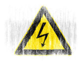 Electric shock sign drawn on white background with colored crayons — Stock Photo