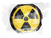 Nuclear radiation symbol painted with watercolor on paper — Stock Photo