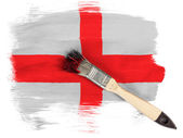 England. English flag painted with brush over it — Stock Photo