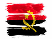 Angola. Angolan flag painted with three strokes of paint in white — Stock Photo