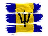 Barbade. drapeau barbade peint avec trois coups de peinture en blanc — Photo