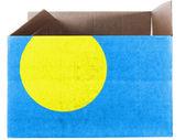 帕劳国旗画在纸箱或包 — 图库照片