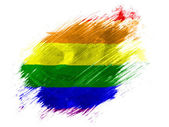 Gay pride flag painted with brush on white background — Stock Photo
